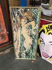 Sale 8711 - Lot 2087 - 2 Decorative Prints on Canvas & Tapestry of Nude