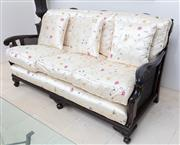 Sale 8782A - Lot 126 - A Javi lounge the superstructure with ebonized finish and well upholstered in floral and butterfly silk. Width 178cm and depth 83cm...