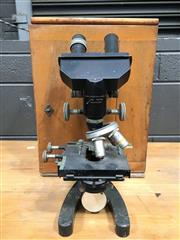 Sale 8882 - Lot 1021 - Cookie Troughtons & Sons Microscope, in timber case (key in office)