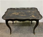 Sale 8972H - Lot 23 - A Papier Mache tray on stand height 63cm x Width 87cm x 57cm