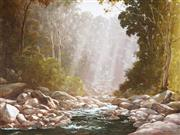 Sale 9021 - Lot 526 - Kevin Best (1932 - 2012) - Sunbeams & Wooded Stream 67 x 90.5 cm (frame: 91 x 114 x 5 cm)