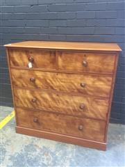 Sale 9031 - Lot 1036 - Victorian Satinwood Chest of Five Drawers, on plinth base (h:118 x w:118 x d:56cm)