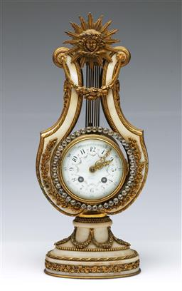 Sale 9098 - Lot 119 - Alabaster and brass mantle clock with Sunburst crown (damage to alabaster and to back glass) H34.5cm