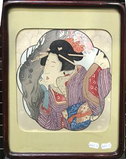 Sale 9106 - Lot 2021 - A Japanese colour woodcut print of a Woman by Cherry Blossom Tree, 34 x 29cm,