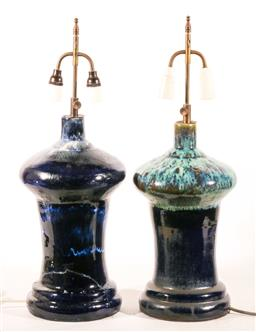 Sale 9144 - Lot 444 - Two Large High-Fire Glaze Pottery Lamps ex Nadine Amadio (one restored) (H:65cm)