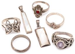 Sale 9149 - Lot 504 - SILVER RINGS AND PENDANTS; butterfly ring, oval cut amethyst with wirework decoration, carnelian and marcasite set ring, sizes P-Q b...