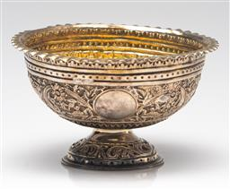Sale 9211 - Lot 34 - Heavily Embossed Sterling Silver Footed Bowl (H:8cm Dia:13cm)