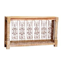 Sale 9216S - Lot 41 - A timber console with carved legs and metal work panels, Height 98cm x Width 168cm x Depth 41cm