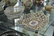 Sale 8086 - Lot 38 - Dresden Piecred Floral Basket & Another Dresden Dish