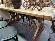 Sale 8392 - Lot 1092 - Oak Stretcher Based Dining Table (210)