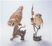 Sale 8376A - Lot 62 - A pair of Albany little owl Worcester figures, both erected on brass bases, Ht: 19cm