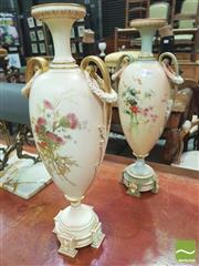 Sale 8428 - Lot 1040 - Two Similar Large Royal Worcester Vases, with double handles draped with festoons, painted with flowers including thistles, dated c1...