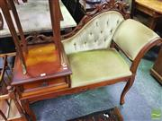 Sale 8447 - Lot 1050 - Carved Telephone Seat w Single Drawer