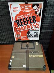 Sale 8566 - Lot 1082 - Case 16mm Movie Reefer Madness and Poster