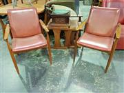 Sale 8661 - Lot 1001 - Pair of Teak Framed Paddle Arm Chairs