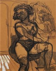 Sale 8665A - Lot 5176 - John Bell (1938 - ) - Seated Girl Dreaming 61 x 47cm
