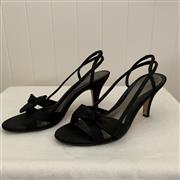 Sale 8694A - Lot 92 - A pair of Kenneth Cole Reaction black satin slingback peeptoe stilettos with bow detail (with original box), US size 9