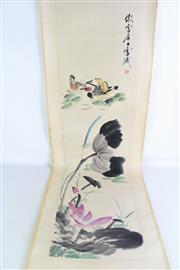 Sale 8909S - Lot 661 - Lotus and duck themed Chiense scroll, L195cm
