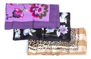 Sale 9010H - Lot 68 - Three Adrienne Vittadini pure silk scarves in various patterns including leopard print and lavender floral
