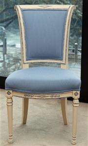 Sale 9044H - Lot 10 - A French bedroom chair with striped blue upholstery, Height of back 76cm