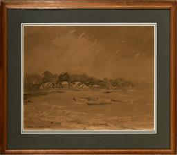 Sale 9123 - Lot 2065 - Robert Richmond Campbell (1902 - 1972) Stormy Weather at Snails Bay, 1950 ink and wash 32 x 41.5 cm (frame: 48 x 55 x 2 cm) signed a...