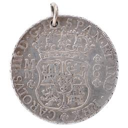 Sale 9130E - Lot 7 - A Spanish silver dollar minted at Mexico mint dated 1760, inscribed Mrs Cs to ED proclaimed to be an indication that it was given...