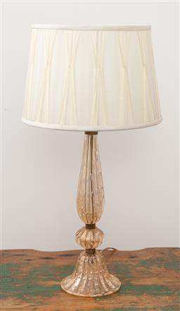 Sale 9160H - Lot 249 - A Murano Glass candlestick form table lamp with aventurine and bubble inclusions, with a cream pleated shade, Height 60cm