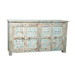 Sale 9216S - Lot 19 - A distressed painted timber sideboard with four doors, featuring decorative carving, aqua finish, Height 101cm x Width 203cm x Depth...