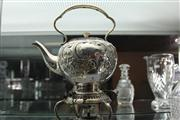 Sale 7977 - Lot 4 - Hardy Bros Small Silver Plated Kettle on Warming Stand