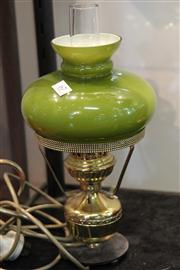 Sale 7977 - Lot 67 - Brass and Green Glass Lamp