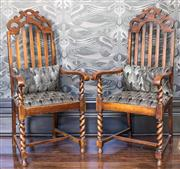Sale 8222 - Lot 1 - A pair of Jacobean carvers with contemporary upholstered seats and cushions, H 124cm Film Provenance; Australia, 2008
