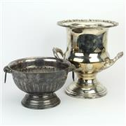 Sale 8390A - Lot 51 - Silver Plated Champagne Bucket with a Similar Footed Dish
