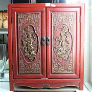 Sale 8362 - Lot 63 - Lacquer Ware Two Door Cabinet with Gilt Highlights