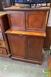 Sale 8500 - Lot 1089 - George IV Mahogany Two Section Cabinet with Gallery Back and Two Arch Doors and Two Further Doors Below