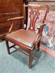Sale 8848 - Lot 1064 - George III Transitional Mahogany Armchair, with pierced splat back, drop-in seat & square legs