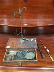 Sale 8882 - Lot 1024 - Vintage Travel Scales Set, for gold or pharmaceutical, appears incomplete with other parts