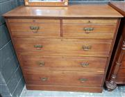 Sale 8993 - Lot 1031 - Late Victorian Walnut Chest of Five Drawers, by T Wallis & Co of London, the faces with reeded design, brass plaque inside top drawe...