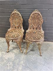 Sale 8993 - Lot 1080 - Set of 6 Cast Iron Coalbrookdale Style Chairs, with pierced wreath back & foliate seat (H:88 D:40cm)
