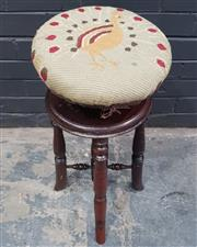 Sale 9014 - Lot 1087 - Victorian Walnut Adjustable Piano Stool, upholstered with a peacock tapestry, raised on turned legs (h:63 x d:32cm)