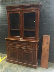 Sale 9031 - Lot 1018 - Victorian Mahogany Secretaire Bookcase, with two arched glass & two timber panel doors, separated by a fall-front drawer enclosing a...