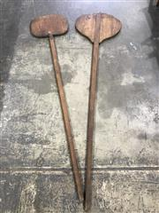 Sale 9039 - Lot 1057 - Pair of Vintage Whey Paddles (H196cm)