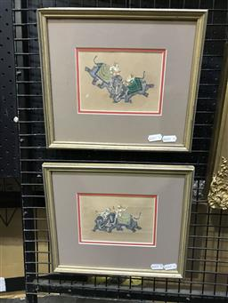 Sale 9106 - Lot 2023 - Pair of Indian Miniatures depicting Royal Figures on Decorated Elephants 24 x 27cm (frame)