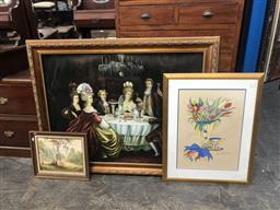 Sale 9139 - Lot 2070 - Group of Assorted Artworks including an 18th century salon scene, (A.F) with other paintings and prints