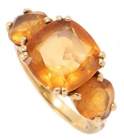 Sale 9160 - Lot 337 - AN 18CT GOLD CITRINE COCKTAIL RING; set across the top with a cushion and 2 round cut cirtines, size R, top 12 x 23mm, total citrine...