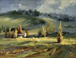 Sale 9150J - Lot 76 - JUNE YOUNG Early Morning Hunter Valley Oil on canvas on board Height 34.5cm x Width 44.5cm