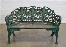 Sale 9179 - Lot 1080 - Good Late Victorian Coalbrookdale & Co. Cast Iron Two-Seater Garden Bench, in the Lily of the Valley pattern designed c.1875, pain...