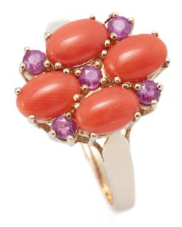 Sale 9194 - Lot 315 - A CORAL AND RUBY CLUSTER RING; set in 9ct gold with 4 oval cabochon corals and 5 round cut rubies, size O, 14.5 x 11mm, wt. 2.89g.