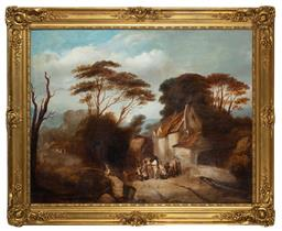 Sale 9190H - Lot 138 - Artist unknown, c.19th British school, unsigned, large scale oil on canvas in original gilt frame, 102cm x 127cm