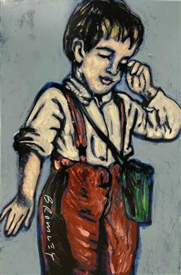 Sale 9248H - Lot 231 - DAVID BROMLEY (1960 - ) Original Synthetic Polymer Painting on Canvas Title: Paper Boy Signed: Lower Left Image Size: 90cm x...
