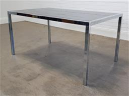 Sale 9255 - Lot 1095 - Chrome based dining table with smoky glass top (h:75 x w:145 x d:90cm)
